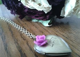 "Antiqued Brass ""LOVE"" Locket necklace with Orchid Cab"
