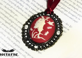 Cameo Necklace - Forest Fairy Ivory on Red