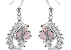 Pink Sapphire Marquis Cut 18K White Gold Earrings