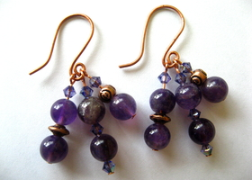 Amethyst cluster earrings copper