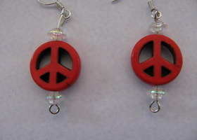 Red Stone Peace Sign Earrings