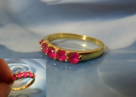 5 Stone Natural Ruby 18K GF Ring Sz 7