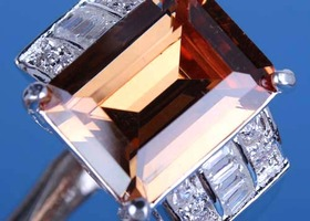 Huge Princess Cut Morganite Ring Size 8