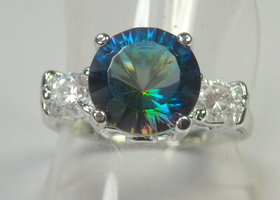 Gorgeous Mystic Topaz and White Topaz Ring
