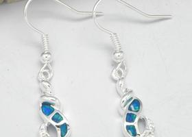 .925 Blue Fire Opal Earrings
