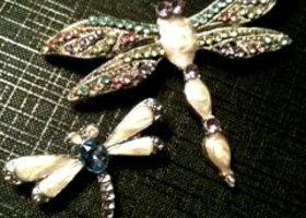 Gorgeous Gemstone Silver Dragonfly Pins