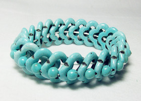 Stretch natural turquoise bead bracelet
