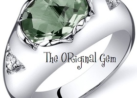 1.50CT Genuine Green Amethyst .925 Silver Ring SZ 5-9