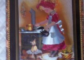 Vintage Picture of Little Girl at Stove