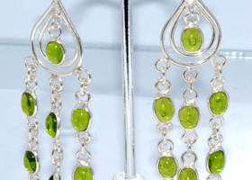 Stunning Green Moldivite Quartz Earrings in .925 Silver