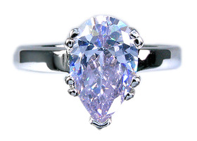 Elegant Pear Cut Tanzanite 18k White GP Ring
