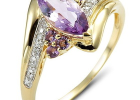 6.0ct Marquis Cut Amethyst 10KT Yellow GF Ring