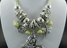Butterfly Dragonflies White Beads Necklace Set