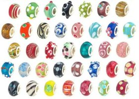 100 pieces of  Murano Glass euro Mix Beads-