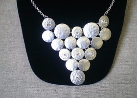 Hammered Metal Bib Necklace & Earrings