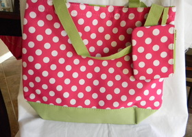 3 Trendy Tote Bags Pink and Green