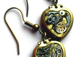 steampunk locket earrings in brass