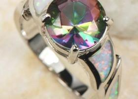 Size 7,8 or 9 Incredible Mystic Topaz ,  Opal Ring