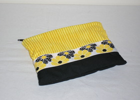 Cosmetic Pouch - Yellow striped with coordinating black & yellow flower ribbon
