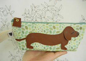 Spring Jelly Bean Polka Dot BBQ the Dachshund Sage Vintage Inspired Cotton Canvas Floral Case with Vinyl Applique