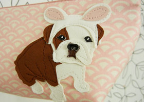Easter Bunny Boris the English Bulldog Pink White Vintage Inspired Cotton Canvas Case with Vinyl Applique