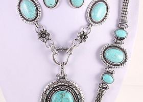 Great  3 pcs. Turquoise Gemstone Complete Set