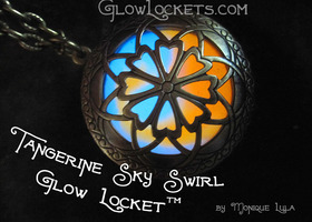 Tangerine Sky Two Color Glow Locket™ Orange and Blue