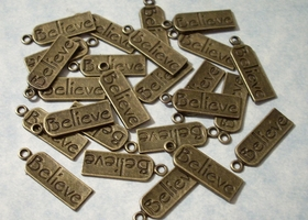50 Engraved Believe Tag Charms
