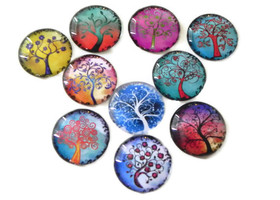 "40 1"" Circle Glass Cabochons With Watercolor Swirl Tree"