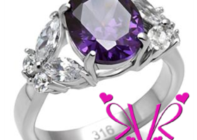 AAA CZ & Amethyst Stainless Steel Ring (Sizes 5-10)