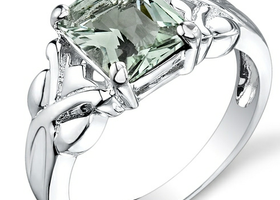 Genuine Green Amethyst Pure .925 Silver Ring Size: 7,8.