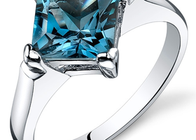 Genuine London Blue Topaz .925 Silver Ring Sz 5,6,7