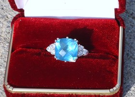 Cushion Cut London Blue Colored Sterling Silver Ring