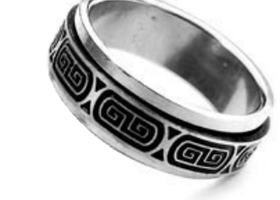 Sz 11 Stainless Steel Spinner Ring~Greek Design