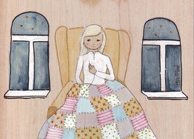 Girl Sowing Quilt Original Painting Folk Art Wood Cute Love Blonde White Night