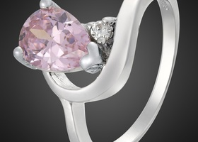 Gorgeous Pear Shaped Pink Sapphire Ring Size 7