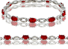Red Ruby 18K White Gold Tennis Bracelet Size 7.5""