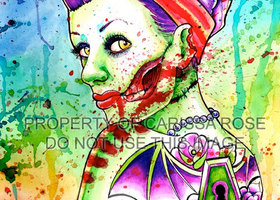 Set of 3 5x7 in Signed Zombie Doll Art Prints