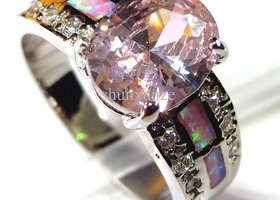 Pink Crystal Pink Opal Ring 925 Sterling Silver 6-9