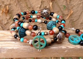 Southwestern 3x Wrap Set Earrings Bracelet