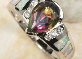 Gorgeous Rainbow Topaz/ White Fire Opal SS Ring Size 8