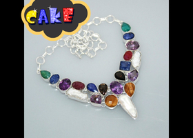 Multi Stone Cluster Necklace
