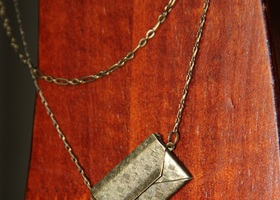 "21"" Brass Envelope Pendant and Chain"