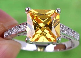 Princess Cut Citrine 925 Sterling Silver Ring Sz 7