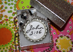Christian John 3:16 Bible Verse Bottle Cap Pendant Necklace