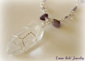 Beautiful Quartz Crystal Point & Amethyst Necklace