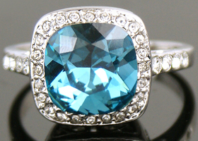 White Gold GP Blue Swarovski Crystal Cocktail Ring