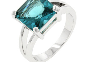 Sz 7, 9 or 10 - Aquamarine 18K White Gold Ring