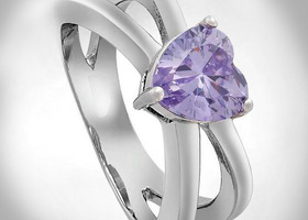 Tanzanite Heart 18K White Gold Ring Sz6