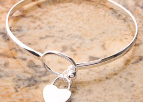 925 SS Heart Bangle bracelet